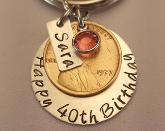 Personalized Hand Stamped Birthday Penny celebration key chain, Birth Penny, milestone birthday, 21st, 30th, 40th, 50th, 60th, 70th birthday