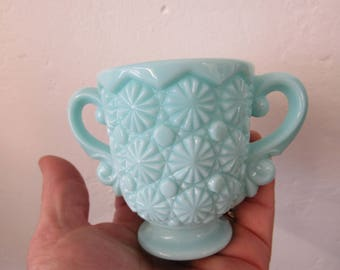 Blue Buttons Slag Glass 2 Handled Cup