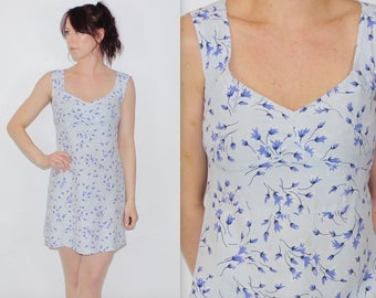 Vintage 1990's UNITED COLORS Of BENTTON Blue White Floral Patterned Short Dress Size 8