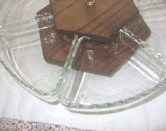 Vintage Lazy Susan, Glass and Wood Lazy Susan, Mid-Century 6 Dish Lazy Susan, Relish Serving Tray