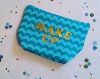 Blue and green wavy makeup bag handmade