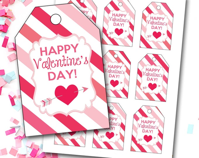 Valentine's Day Tag, Girl Valentine's Tag, Hearts Valentine's Tag, Heart Tag, Instant Download, Party Favor Tags, DIY Printable