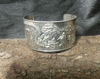Vintage Silver Cuff Bangle Bracelet Dutch