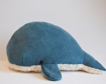 Sperm Whale Plush Deep Blue Furry Belly Large