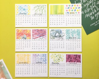 2017 Tiny Desk Calendar (Watercolor Designs, Hand-lettered dates)