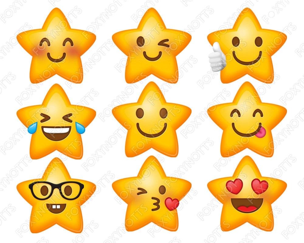 Star Emoji Smiley Faces Clip Art Digital Download