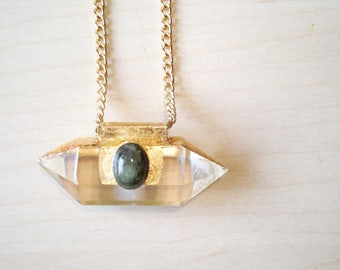 Green Sapphire On Quartz Crystal with Gold Leaf Necklace, Gold Crystal Necklace