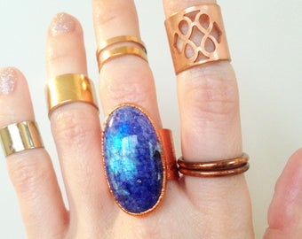 SALE Blue Rainbow Moonstone Wide Copper Cuff Ring, size 7.5 ring
