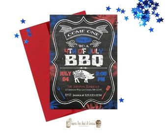 4th of July BBQ Invitation Chalkboard Red White Blue Fireworks Cookout Party Printable Digital File Prints Printed Rustic Independence Day