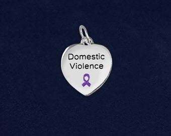Domestic Violence Awareness Heart Charms in a Bag (10 Charms) (HRTC-02-4DV)