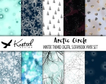 Letter size - Arctic Circle Theme Digital Paper Pack - Kestrel Design DIY immediate download -printable crafts scrapbooking winter ice snow