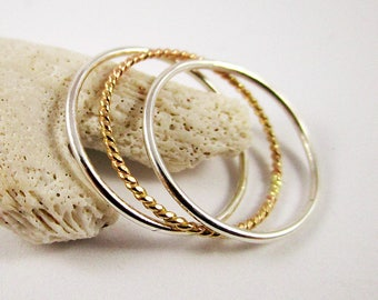 Stackable Ring Set (3) 2 Sterling Silver and 1 Yellow Gold Filled Twisted Ring, Great Bridesmaid Gift, Stacking Ring, Thin Rings