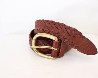 brown plaited leather belt genuine vintage hippie retro boho bohemian leather
