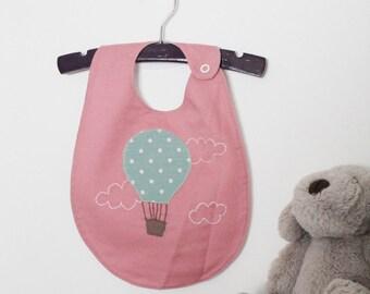 Hot Air Balloon Pink Handmade Baby Bib