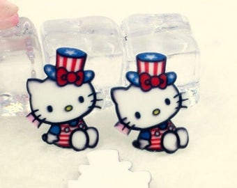 4 pcs. PATRIOTIC KITTY 4th of JULY Planar flatback resins Hair bow centers  Huge!  Hello white kitty cat