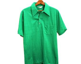 70s Men's Polo Shirt M, Kelly Green Short Sleeve Knit, Montgomery Ward