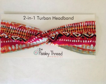 Pink and Orange Ikat Print Cotton Turban Headband