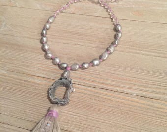 "Lavender Hand knotted~gray fresh water pearls and crystal bead necklace~druzy geode~gray tassel 171/2""=35"""