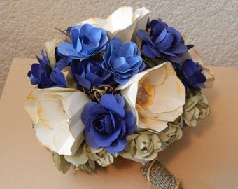 Royal Blue and Ivory Paper Flower Bouquet | Wedding Flowers