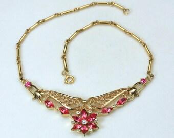 Vintage CoroCraft Gold Tone Pink & White Rhinestone Flower Bombshell Necklace