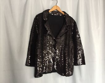 Black Sequin Blazer Jacket Three Quarter Sleeves Vintage