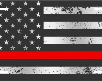 Distressed Black and white American flag with red line firefighter custom license plate