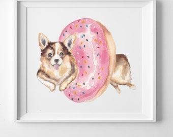 Pembroke Welsh Corgi in a Donut