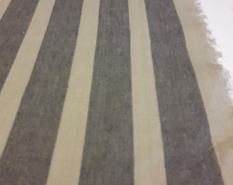 """French linen look fabric in dark grey stripes and linen color 63"""" wide"""