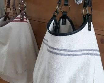 New!! Big travel bag, hobo bag, tote bag, beach bag, weekend bag with leather; ditty bag
