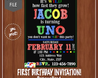 UNO Themed Birthday Party Invitation - UNO - One Year Old - 1st Birthday Ideas - One - Colorful - Unique - Printable - Uno Cards