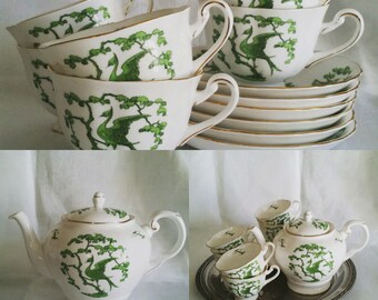 "Royal Chelsea ""Evergreen"" Teapot and Six Footed Teacup & Saucer Sets Made in England"