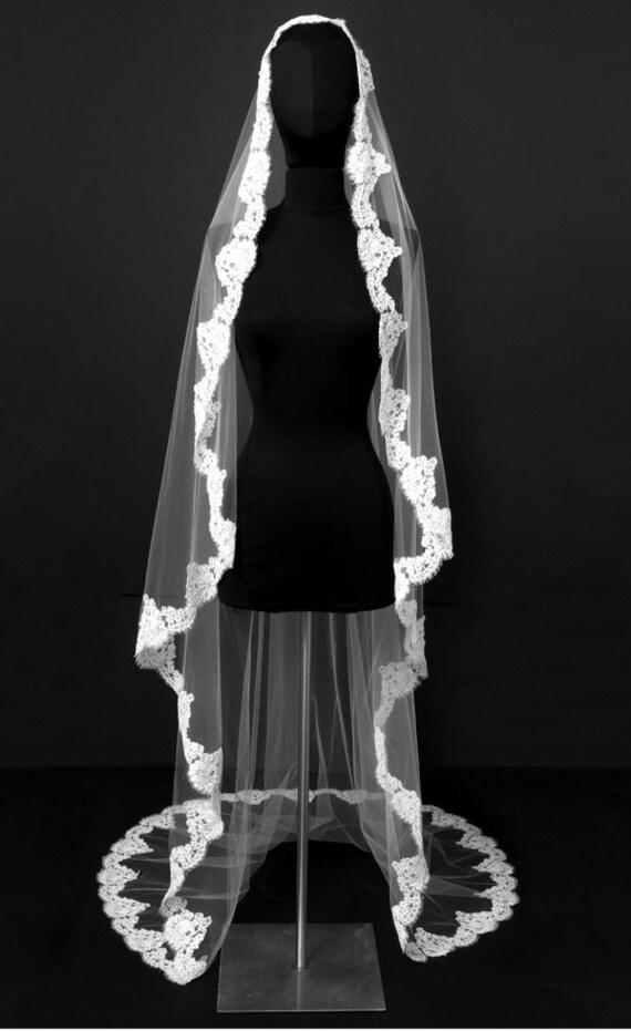 Mantilla , Cascade Veil , Alencon Lace, French Imported Lace, Cathedral Length Veil, Embellished Veil - Claudette Veil