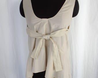 vintage MARNI ecru tan cotton poplin tie front tank/ swing style trapeze- asymmetrical hem: size IT size 38= US 6/8