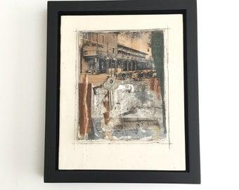 Framed Original Encaustic Collage, antique postcard, vintage ephemera, framed art,  ready to hang art, 8X10, Italy
