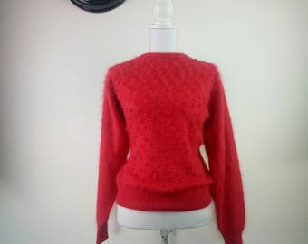 80s mohair fuzzy red beaded jumper pullover size S/M