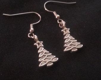 Christmas Tree Earrings, Nickle Free Earrings, Silver Plated Christmas Tree Earrings, Christmas Jewelry, Holiday Earrings, Christmas Earring