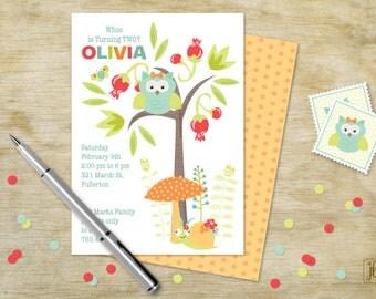 Owl in a Tree Birthday Invitation | Owl in a Tree Printable Invitation | Digital Invitation | Printable .PDF