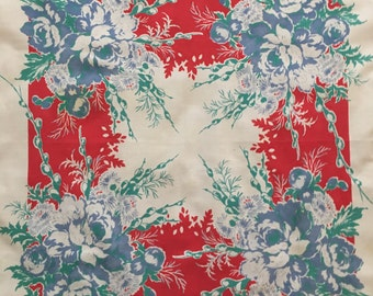 Vintage Tablecloth in Red w/ Blue and Green Flowers