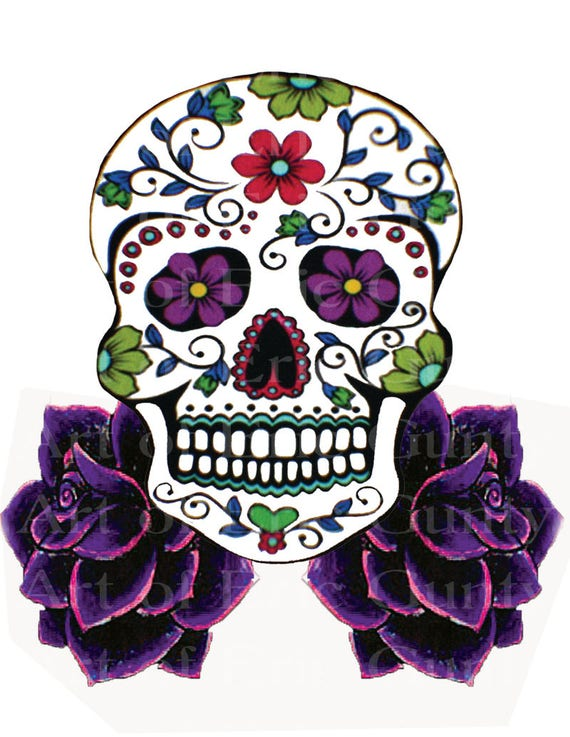 Sugar Skull and Purple Roses Birthday - Edible Cake and Cupcake Topper For Birthday's and Parties! - D22438
