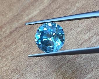 Blue Zircon, Round Shape Blue Zircon, Eye Clean Loose Zircon Stone, Eye Clean High Quality Blue Zircon, 7.7 Mm Round Blue Zircon, 2.89 Carat