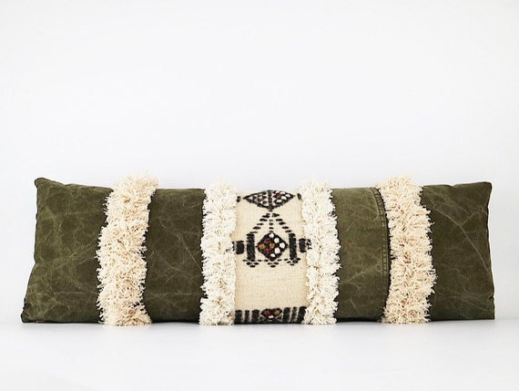 Antique Handwoven Masai Wool Blanket Textile, Vintage Army Canvas And Fringe Lumbar Pillow Cover 12x34