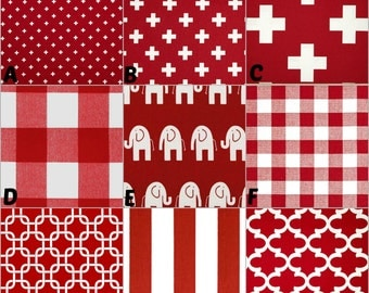 Custom Crib Bedding, Nursery and Home Decor / Design Your Own / Crib Bumper, Skirt, Sheet, Blanket / Premier Prints / Lipstick Red #2