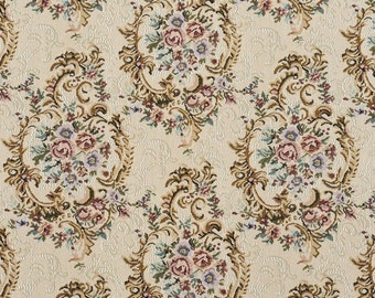 Burgundy Green And Blue Floral Tapestry Upholstery Fabric By The Yard | Pattern # B773