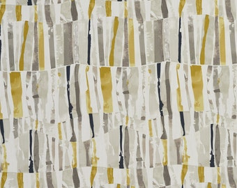 Grey and Yellow Abstract Cotton Print Upholstery Fabric By The Yard | Pattern # B0305A