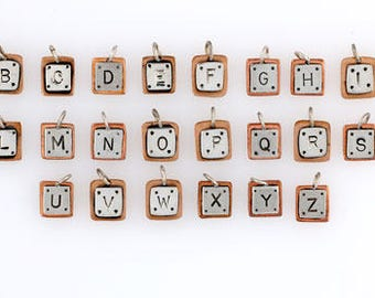 925 Sterling Silver & Copper Alphabet Letter Charms, Choice of Letter