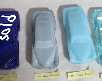 Boyd Tucker collectible Glass Cars Made in USA blue group CHOICE