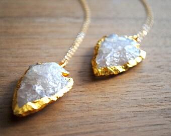 Arrowhead Necklace. Rose Quartz Arrowhead Necklace. Quartz. Arrowhead. Quartz Arrowhead. Gold Plated Necklace 14k Delicate Gold Filled Chain