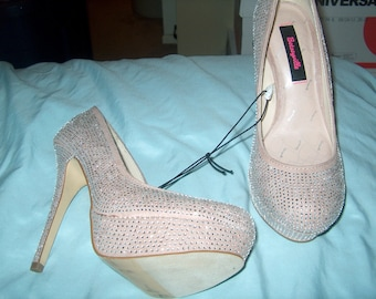 Women's Shoes, Betseyville Platform Pumps, Betsey Johnson, Heels, Stilettos, Cistals, Beige, Size 8 1/2, WAS 40.00 - 40% = 24.00