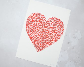 Red heart print –first anniversary gift – red art– gift for wife – love gift – wedding present – gift for lover – art for bedroom
