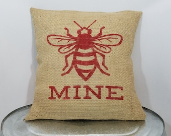 "Custom made rustic country ""Be Mine"" honey bee red (or custom color) Love/Valentine burlap pillow cover/sham - Customize color option!"